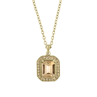 Gold-Tone Octagon Pendant Necklace 16 - 19 Inch Adjustable