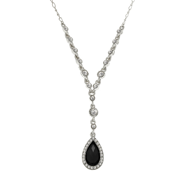 2028 Jewelry Silver-Tone Crystal Pear Shape Y-Necklace 16 - 19 Inch Adjustable