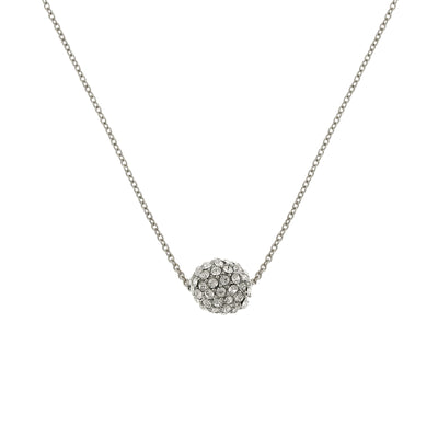 Silver-Tone Crystal Fireball Necklace 16 - 19 Inch Adjustable