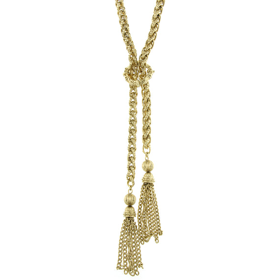 Signature Gold-Tone Braided Chain Tassel Necklace
