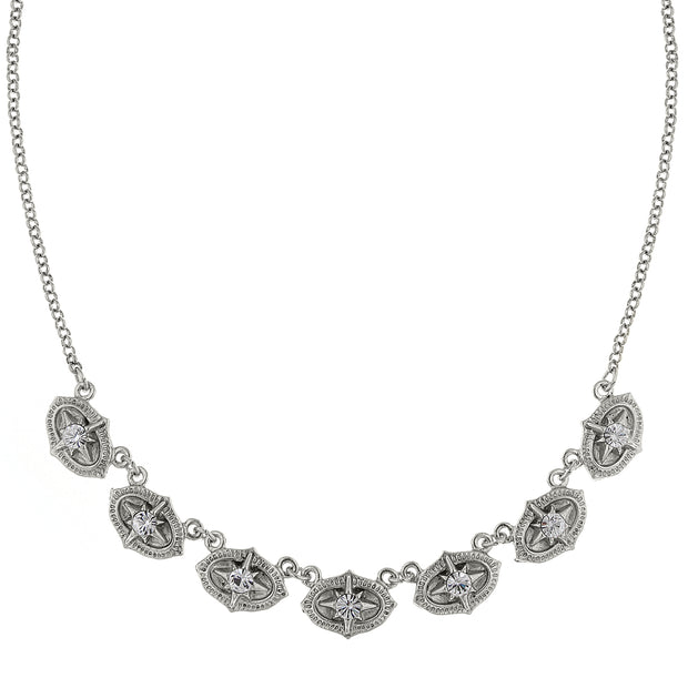 Crystal Collar Necklace 16 - 19 Inch Adjustable Silver
