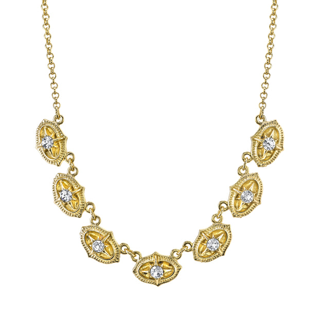 Gold Tone Crystal Collar Necklace 16 In Adj
