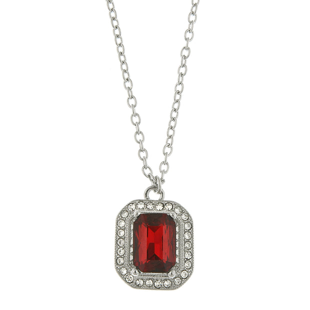 Silver-Tone Red Crystal Octagon Pendant Necklace 16 - 19 Inch Adjustable