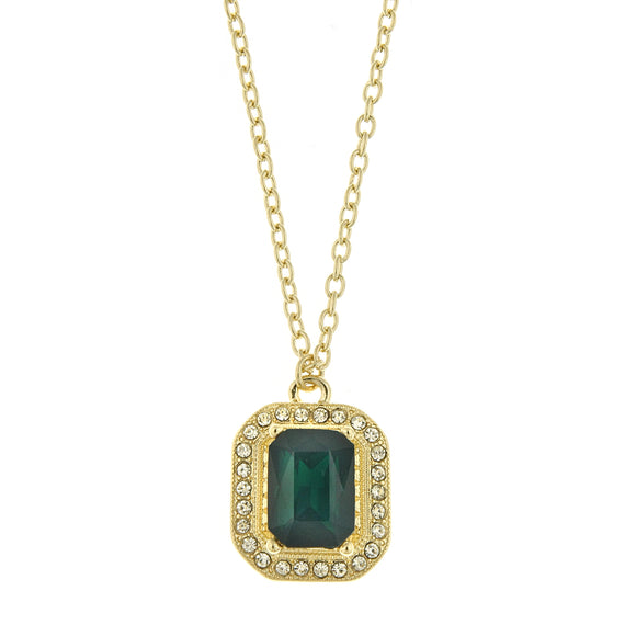 Fashion Jewelry - Gold-Tone Emerald Green and Crystal Octagon Pendant Necklace