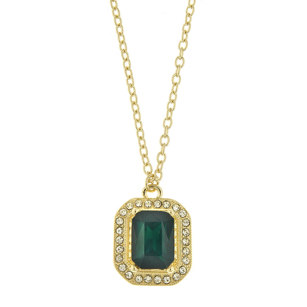 Gold Tone Octagon Pendant Necklace 16   19 Inch Adjustable Green