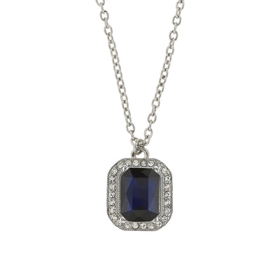 Silver Tone Dark Blue Octagon Stone And Crystal Pendant Necklace 16   19 Inch Adjustable