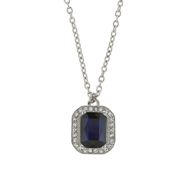 Silver-Tone Dark Blue Octagon Stone and Crystal Pendant Necklace 16 In Adj