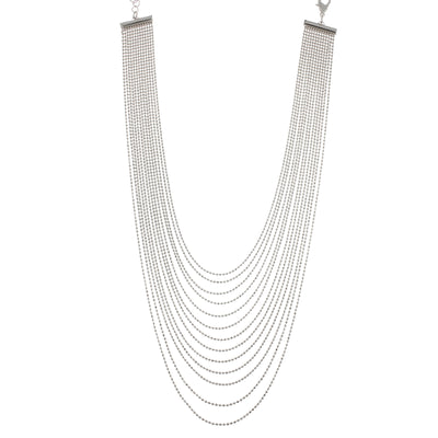 2028 Silver-Tone Multi-Row Chain Necklace 15 Adj.