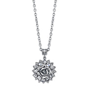 Silver Tone Crystal Flower Pendant Necklace 16   19 Inch Adjustable