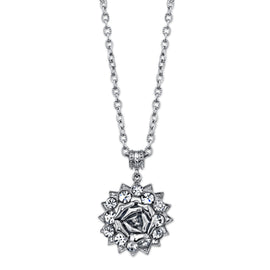 1928 Jewelry: 1928 Jewelry - Silver-Tone Crystal Flower Pendant Necklace