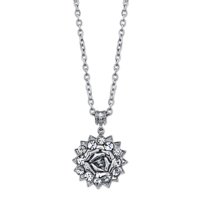Silver-Tone Crystal Flower Pendant Necklace 16 In Adj