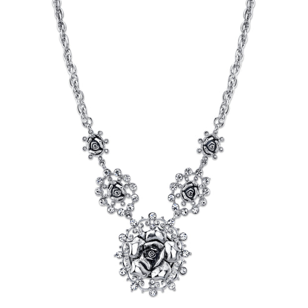 Silver-Tone Crystal Multi Flower Drop Necklace 16 - 19 Inch Adjustable