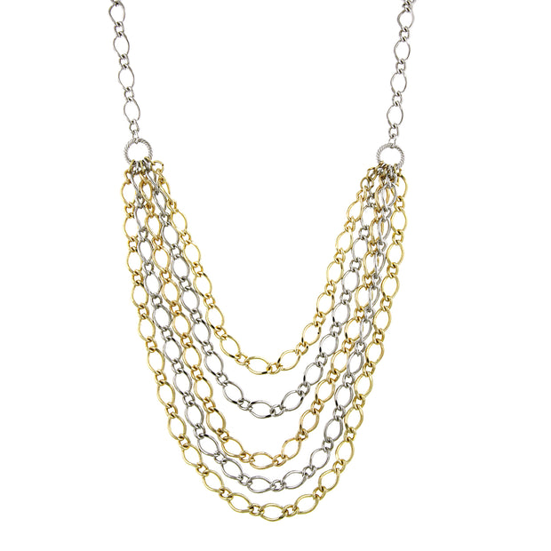 Silver-Tone and Gold-Tone Layered Chain Necklace 16 In Adj