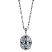 Silver-Tone Dark and Light Blue Crystal Filigree Oval Pendant Necklace 16  - 19 Inch Adjustable