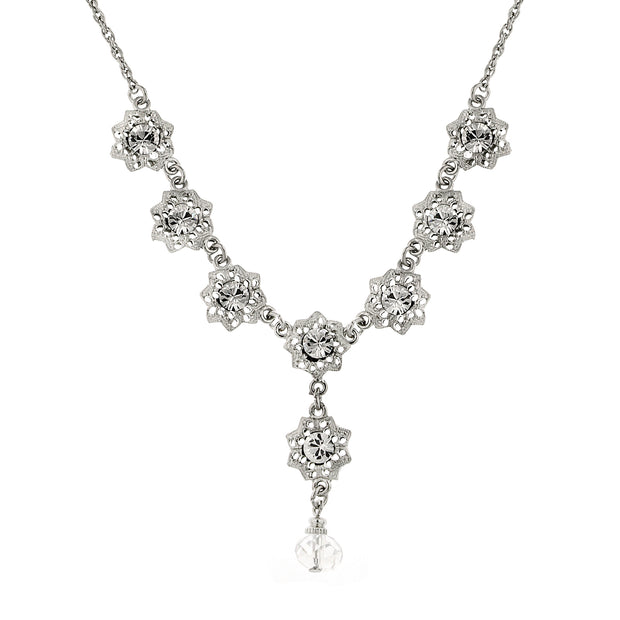 Silver-Tone Crystal Flower Drop Necklace 16 - 19 Inch Adjustable