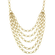 Gold Tone Layered Chain Necklace 16   19 Inch Adjustable