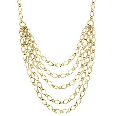 Gold Tone Layered Chain Necklace 16 - 19 Inch Adjustable