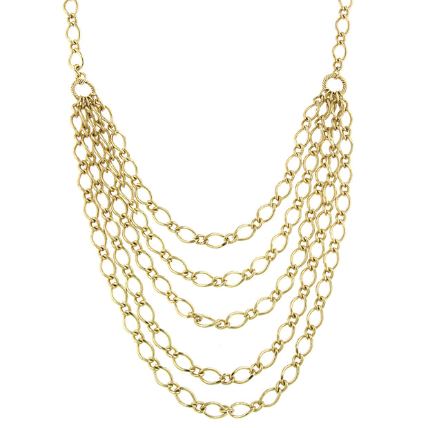Gold Tone Layered Chain Necklace 16 In Adj