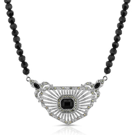 Silver-Tone Black Crystal and Imitation Marcasite Collar Beaded Necklace16 In Adj