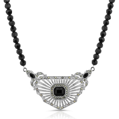 Signature Silver-Tone Black and Marcasite Shield Pendant Collar Necklace