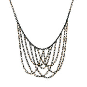 Black Tone And Gold Tone Chain Bib Necklace 16   19 Inch Adjustable