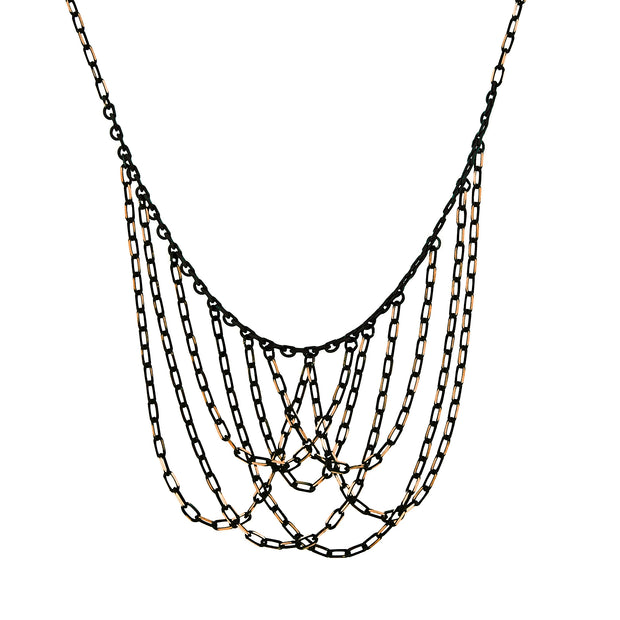Black-Tone and Gold-Tone Chain Bib Necklace 16 In Adj