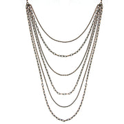 Black Tone And Gold Tone 6 Strand Layered Chain Necklace 16   19 Inch Adjustable