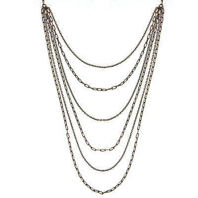 Black-Tone And Gold-Tone 6-Strand Layered Chain Necklace 16 - 19 Inch Adjustable