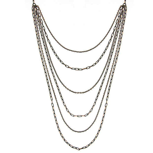 Black-Tone and Gold-Tone 6-Strand Layered Chain Necklace 16 In Adj