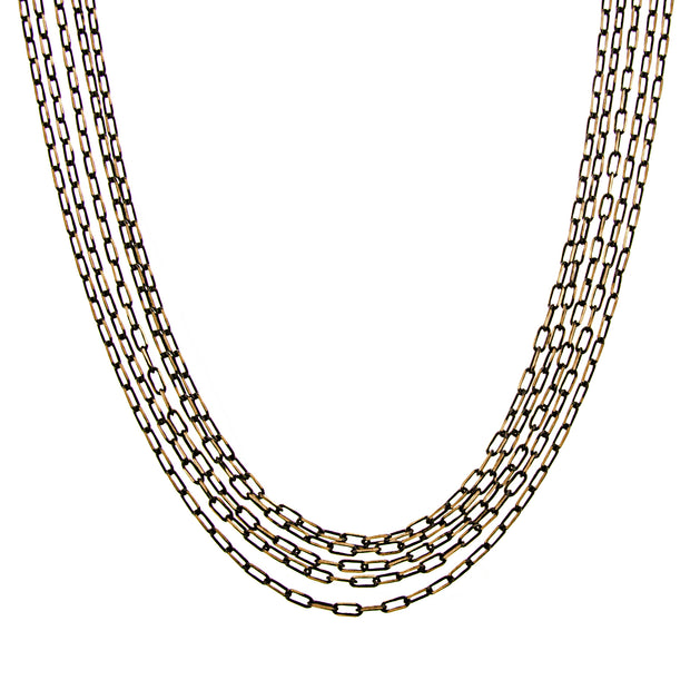 Black Tone And Gold Tone 5 Strand Multi Chain Necklace 16   19 Inch Adjustable
