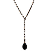 Black-Tone and Gold-Tone Chain Briolette Y-Necklace 16 In Adj