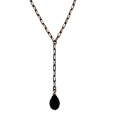 Black Tone And Gold Tone Chain Briolette Y Necklace 16   19 Inch Adjustable