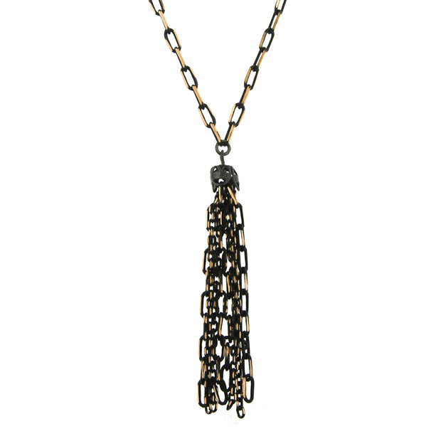 Black Tone And Gold Tone Tassel Drop Necklace 16   19 Inch Adjustable