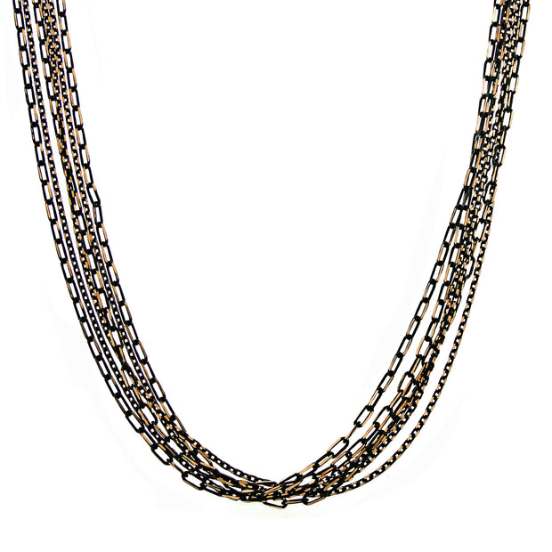 Black-Tone And Gold-Tone Stranded Mixed Chain Necklace 16 - 19 Inch Adjustable