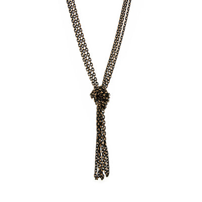 Black Tone And Gold Tone Chain Tassel Knotted Necklace 16   19 Inch Adjustable