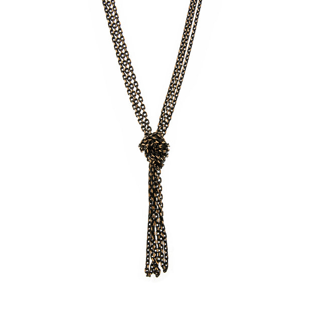 Black-Tone and Gold-Tone Chain Tassel Knotted Necklace 16 In Adj