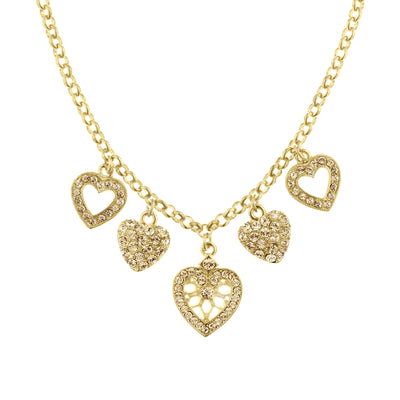 Gold-Tone Light Brown Heart Charm Necklace 16 - 19 Inch Adjustable