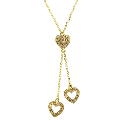 Gold-Tone Topaz Heart Tassel Necklace 16 In Adj