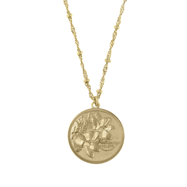 Gold Tone Flower Of The Month Necklace 16 - 19 Inch Adjustable March/Jonquil