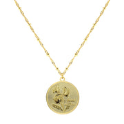 Gold Tone Flower Of The Month Necklace 16   19 Inch Adjustable May/Lily