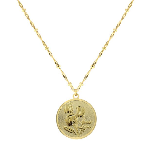 Gold Tone Flower Of The Month Necklace 16 - 19 Inch Adjustable May/Lily