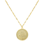Gold Tone Flower Of The Month Necklace 16   19 Inch Adjustable November/Chrysanthemum
