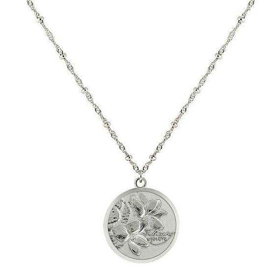 Silver-Tone Flower of the Month Necklace - February/Violets 16 Adj.