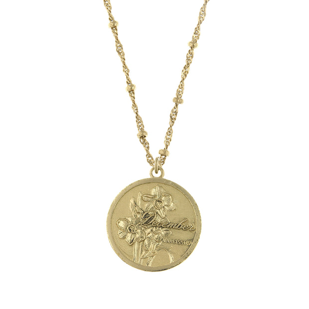Gold Tone Flower Of The Month Necklace 16 19 Inch Adjustable
