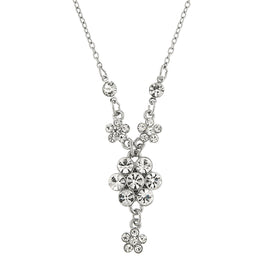 1928 Jewelry: 2028 Jewelry - Silver-Tone Crystal Flower Cluster Necklace 16 Adj.