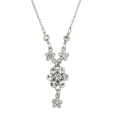 Silver Tone Crystal Flower Cluster Necklace 16   19 Inch Adjustable