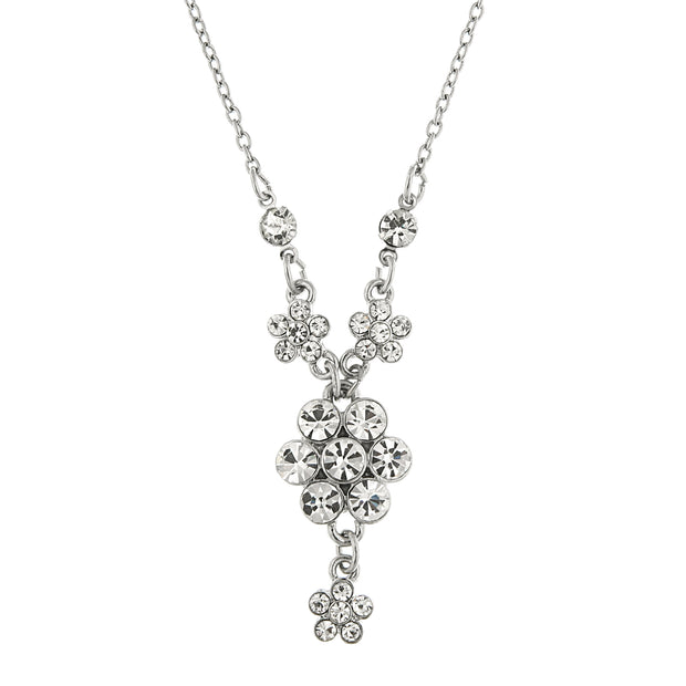 Silver-Tone Crystal Flower Cluster Necklace 16 - 19 Inch Adjustable