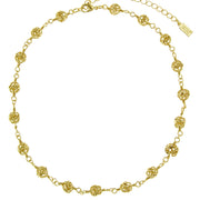 2028 Gold-Tone Caged Filigree Beaded Necklace 15 - 18 Inch Adjustable