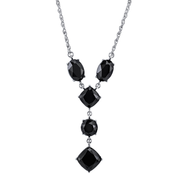 Silver-Tone Black Faceted Y-Necklace 16 In Adj