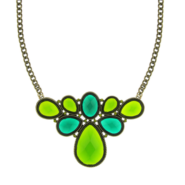 Gold-Tone Green Stone And Olivine-Color Crystal Cluster Bib Necklace 16 - 19 Inch Adjustable